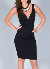 Black V-Cut Dress , Dresses - Fashion Trend LA, Fashion Trend LA  - 1