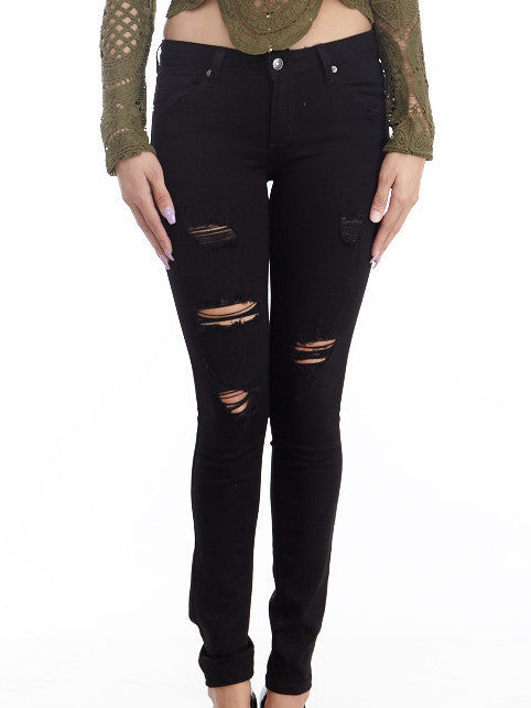 Black Distressed Skinny Jeans , Bottoms - Fashion Trend LA, Fashion Trend LA  - 1