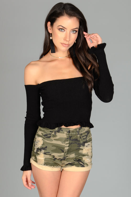 Camouflage Folded Jean Shorts