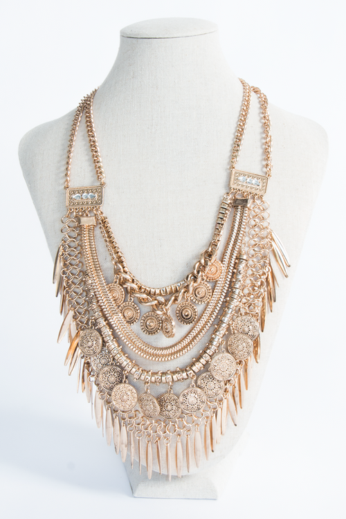 Coins Chained Statement Necklace One Size, Necklace - Fashion Trend LA, Fashion Trend LA