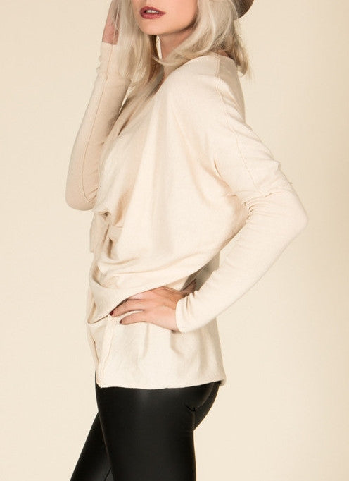 Cream Twist Front Sweater , Tops - Fashion Trend LA, Fashion Trend LA  - 2
