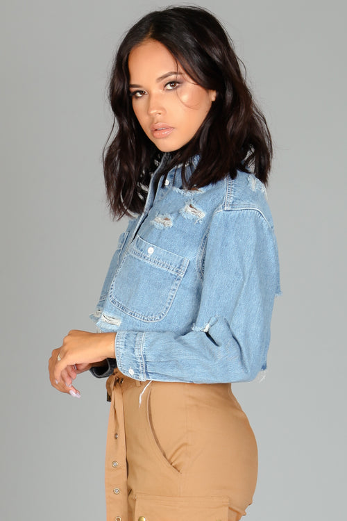 Cropped & Distressed Denim Jacket