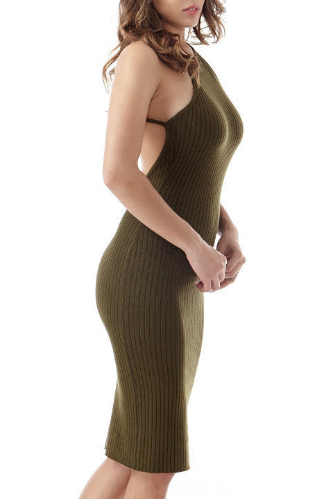 Eden Olive Knit Dress , Dresses - Fashion Trend LA, Fashion Trend LA  - 2