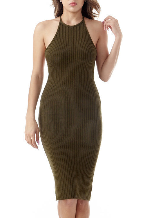 Eden Olive Knit Dress Small, Dresses - Fashion Trend LA, Fashion Trend LA  - 1