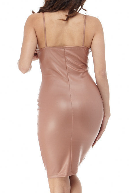 Emily Faux Leather Mauve Dress , Dresses - Fashion Trend LA, Fashion Trend LA  - 2