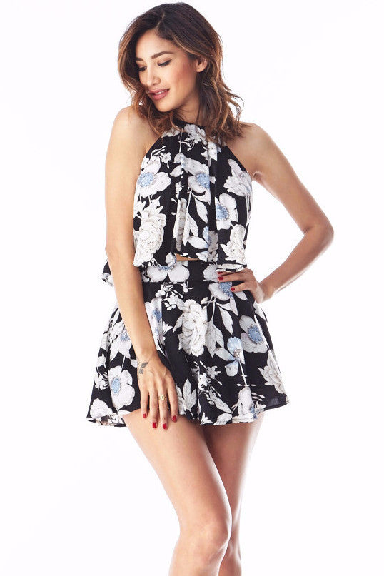Eva Floral 2 Piece Short Set Small, Rompers - Fashion Trend LA, Fashion Trend LA  - 1