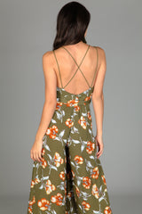 Fall Floral Jumpsuit- Olive