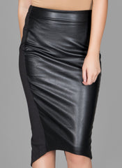 Black Faux Front Midi Skirt , Bottoms - Fashion Trend LA, Fashion Trend LA  - 1