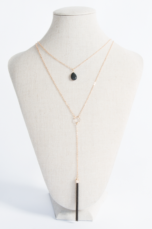 Faux Black Stone Layered Necklace One Size, Necklace - Fashion Trend LA, Fashion Trend LA
