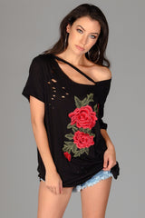 Floral Distressed Tee Dress