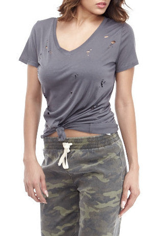 Grey Cutout Tee , Tops - Fashion Trend LA, Fashion Trend LA  - 1