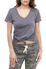 Grey Cutout Tee Small, Tops - Fashion Trend LA, Fashion Trend LA  - 2