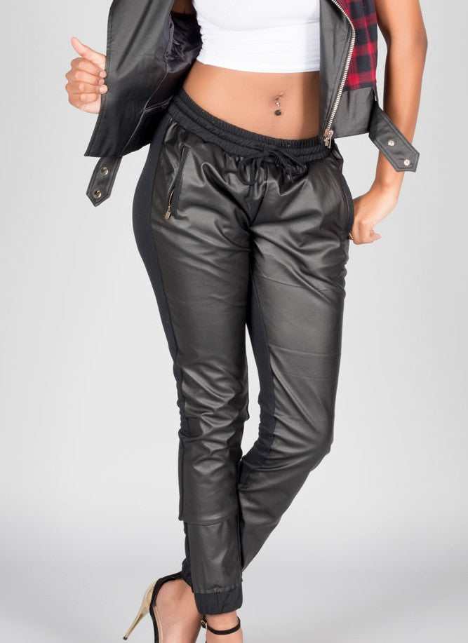 Black Front Faux Leather Joggers , Bottoms - Fashion Trend LA, Fashion Trend LA  - 1