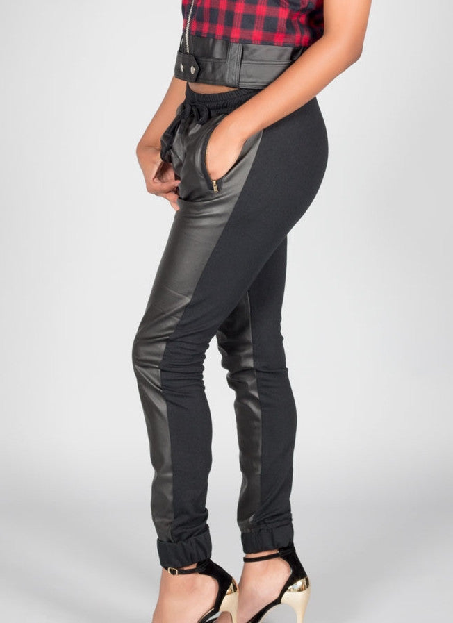 Black Front Faux Leather Joggers , Bottoms - Fashion Trend LA, Fashion Trend LA  - 2
