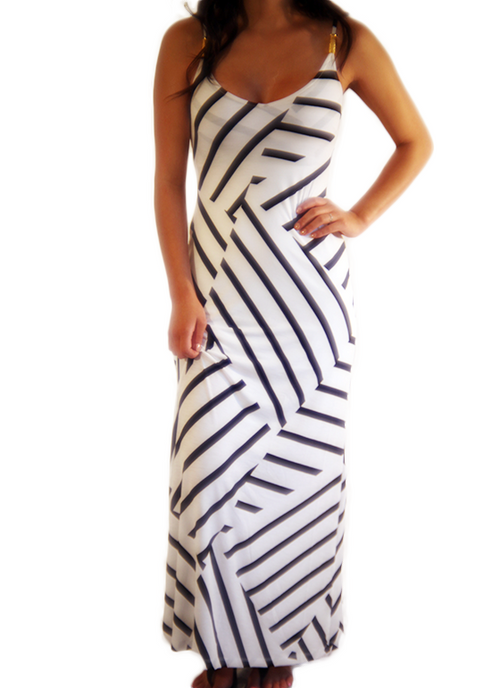 White & Black Maxi Dress , Dresses - Fashion Trend LA, Fashion Trend LA