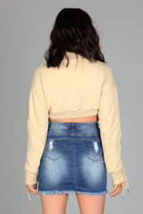 Kimy Denim Distress Skirt