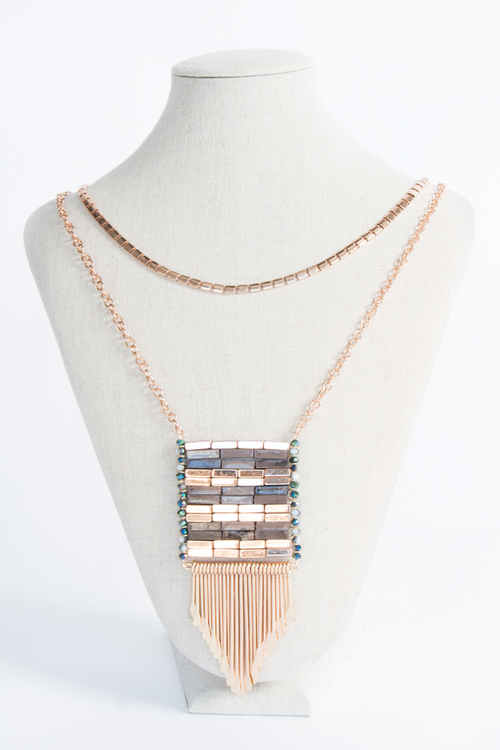 Layered Faux Stone Fringe Necklace One Size, Necklace - Fashion Trend LA, Fashion Trend LA