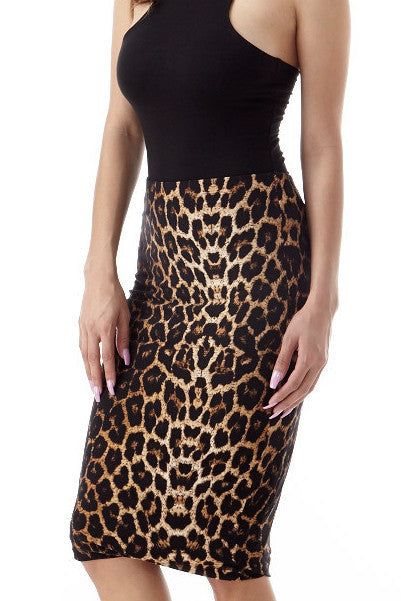 Leopard Midi Skirt Small, Bottoms - Fashion Trend LA, Fashion Trend LA  - 1