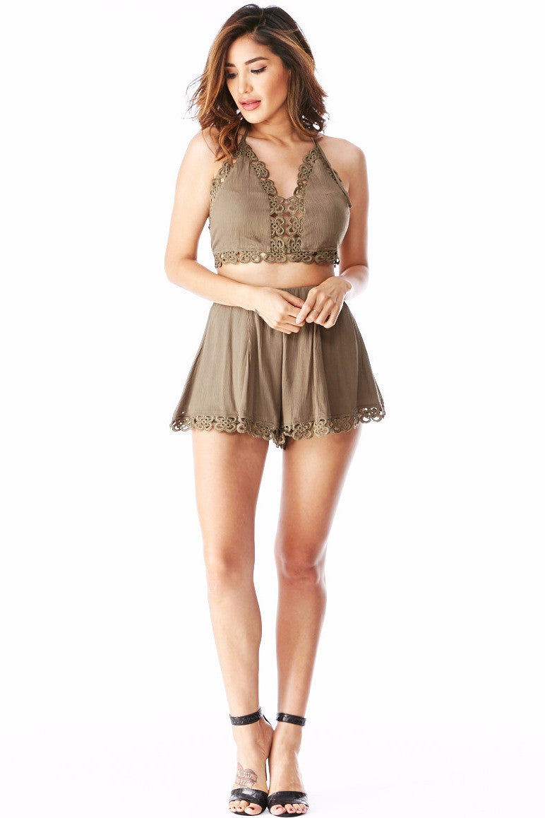 Lilian Olive Set Small, Two Piece Set - Fashion Trend LA, Fashion Trend LA  - 1