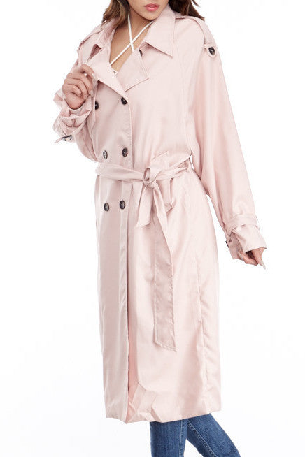 Marilyn Pink Trench Jacket Small/Medium, Jacket - Fashion Trend LA, Fashion Trend LA  - 2