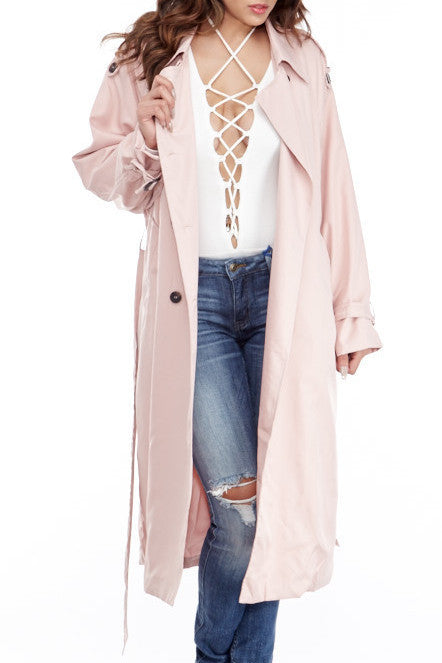 Marilyn Pink Trench Jacket , Jacket - Fashion Trend LA, Fashion Trend LA  - 1