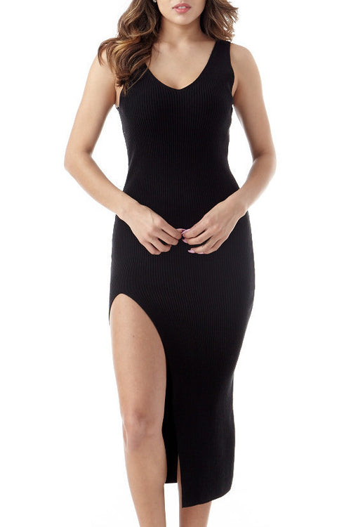 Midnight Hour Knit Front Slit Midi Small/Medium, Dresses - Fashion Trend LA, Fashion Trend LA  - 1