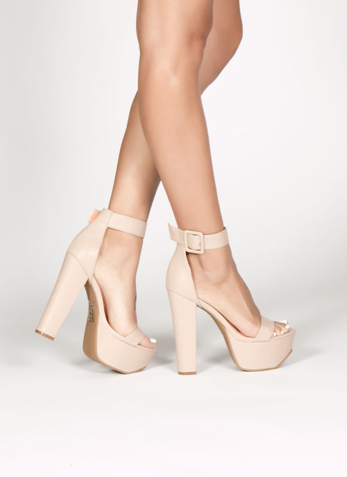 Nude Root Platform Heel 6, Shoes - Fashion Trend LA, Fashion Trend LA  - 1