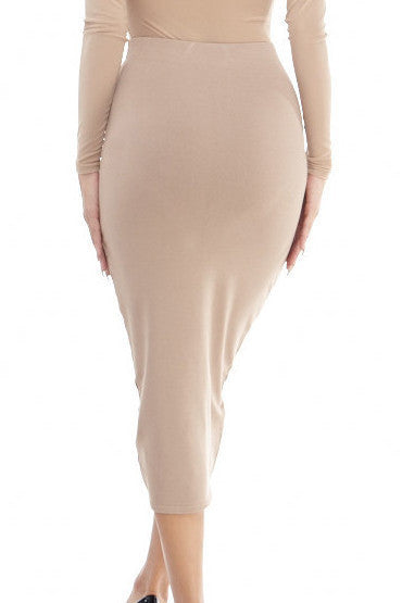 Nude Knit Midi Skirt , Bottoms - Fashion Trend LA, Fashion Trend LA  - 2