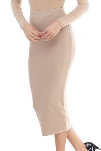 Nude Knit Midi Skirt Small, Bottoms - Fashion Trend LA, Fashion Trend LA  - 1