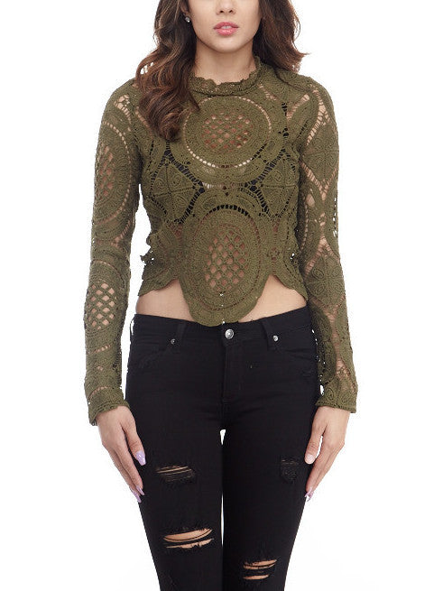 Olive Lace Top Small, Tops - Fashion Trend LA, Fashion Trend LA  - 1