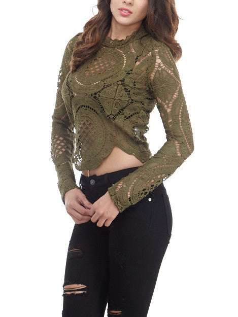 Olive Lace Top , Tops - Fashion Trend LA, Fashion Trend LA  - 2