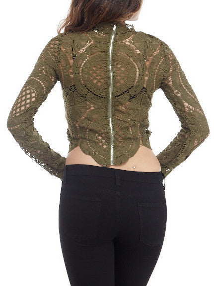 Olive Lace Top , Tops - Fashion Trend LA, Fashion Trend LA  - 3