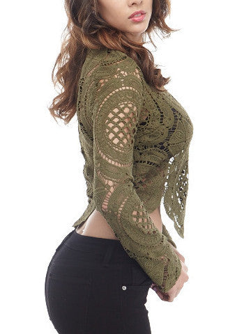 Olive Lace Top , Tops - Fashion Trend LA, Fashion Trend LA  - 4
