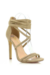 Paris Lace-Up Heels 5.5 / Taupe, Shoes - Fashion Trend LA, Fashion Trend LA  - 3