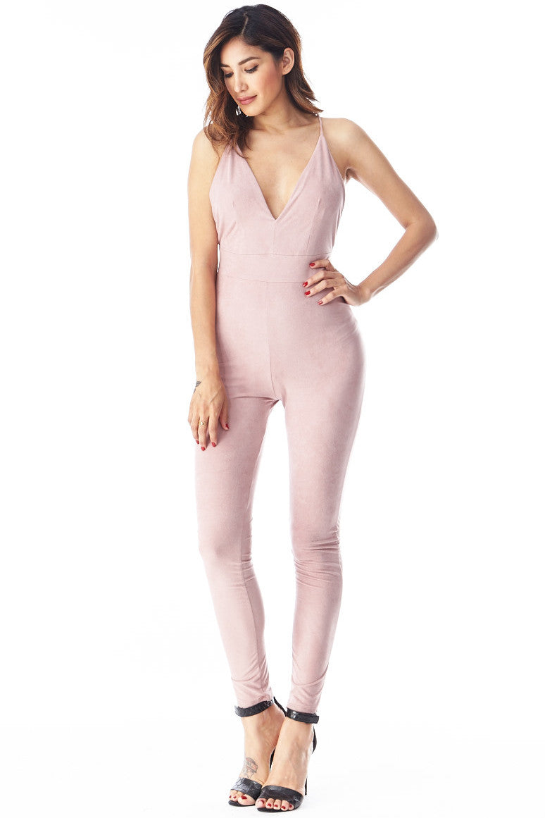 Pink Cross-back Jumpsuit