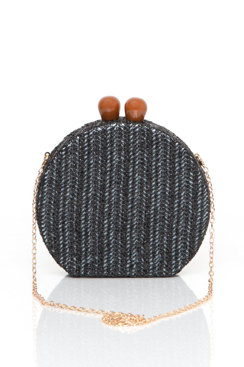 Rounded Woven Crossbody Clutch