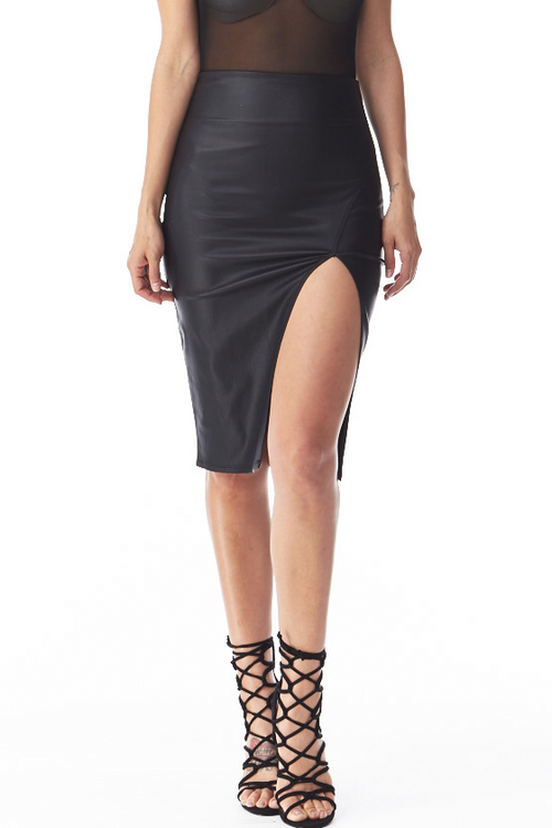 Sienna Faux Leather Skirt Small, Bottoms - Fashion Trend LA, Fashion Trend LA  - 1