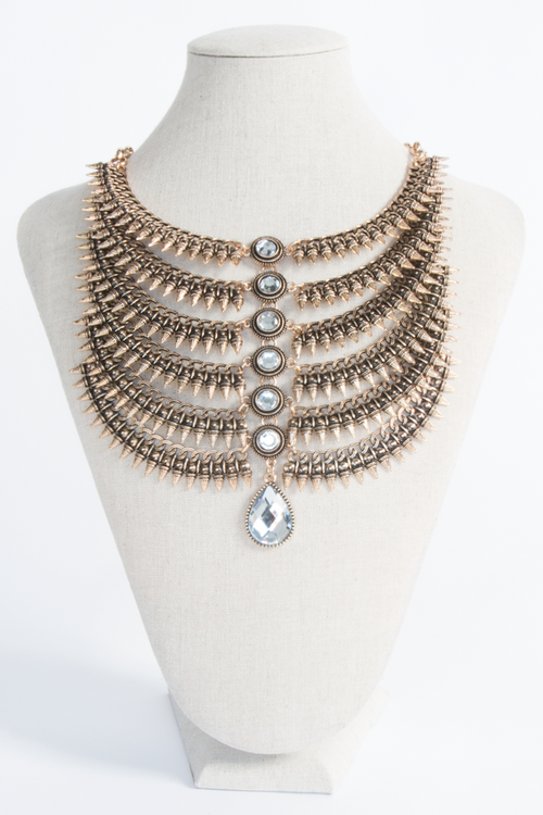 Spike Layered Faux Diamond One Size, Necklace - Fashion Trend LA, Fashion Trend LA