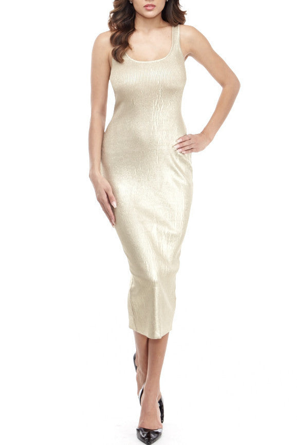 Tara Rib Knit Small / Gold Metallic, Dresses - Fashion Trend LA, Fashion Trend LA  - 5