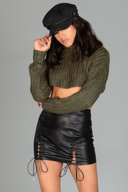 Tori Faux Leather Lace-up Skirt