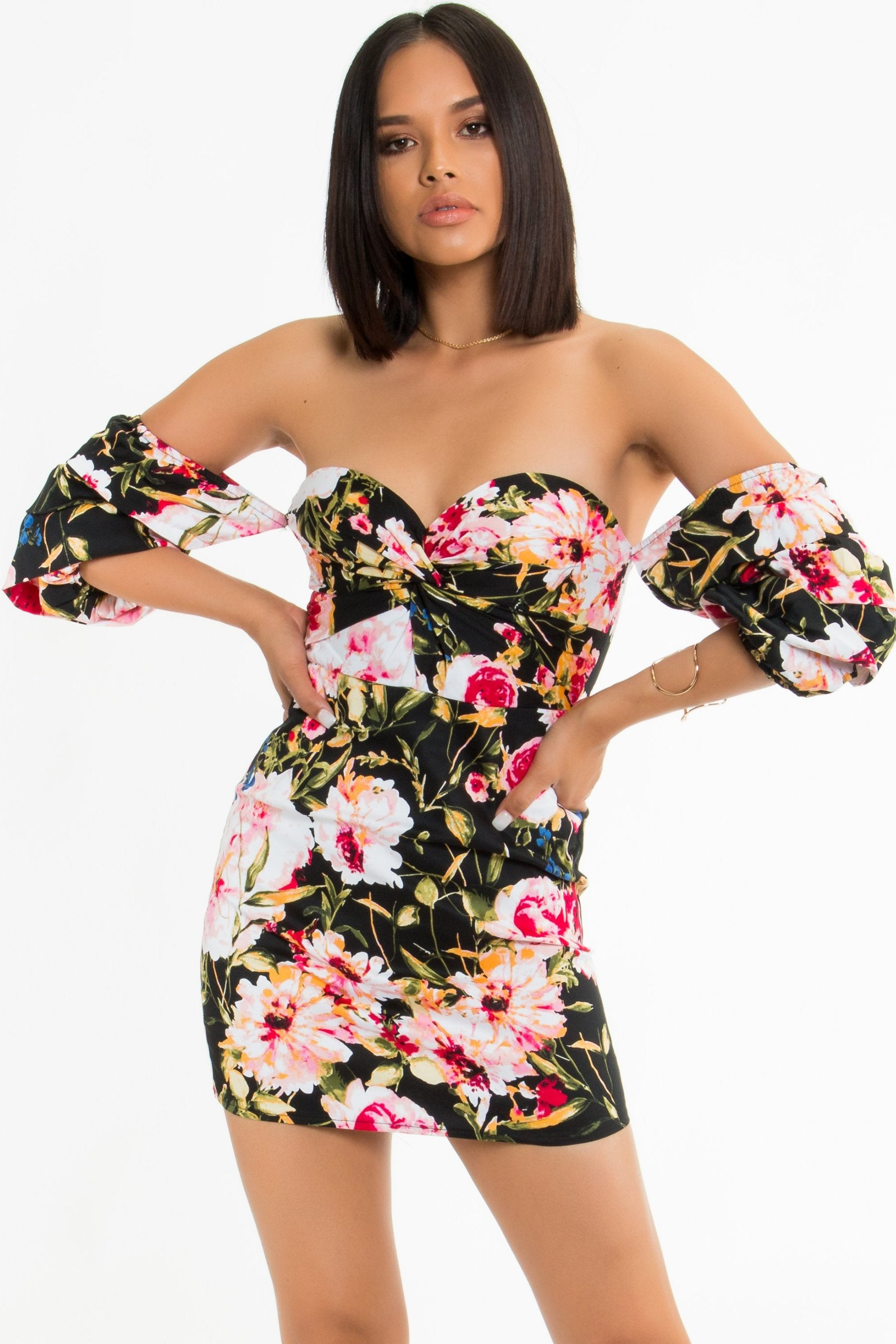 Tropical Puff-Sleeve Dress