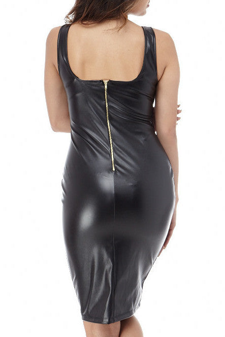 Zipper Back Faux Leather Dress , Dresses - Fashion Trend LA, Fashion Trend LA  - 2