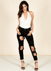 Black Distressed Jeans , Bottoms - Fashion Trend LA, Fashion Trend LA  - 2