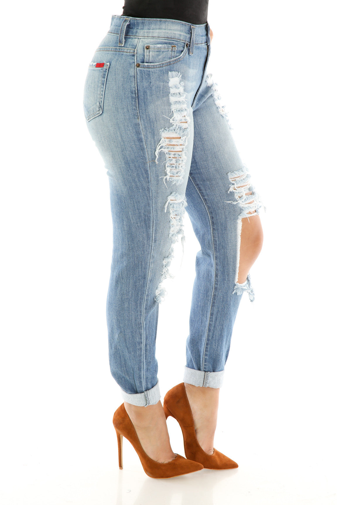 Denim Distress Jeans , Bottoms - Fashion Trend LA, Fashion Trend LA  - 4