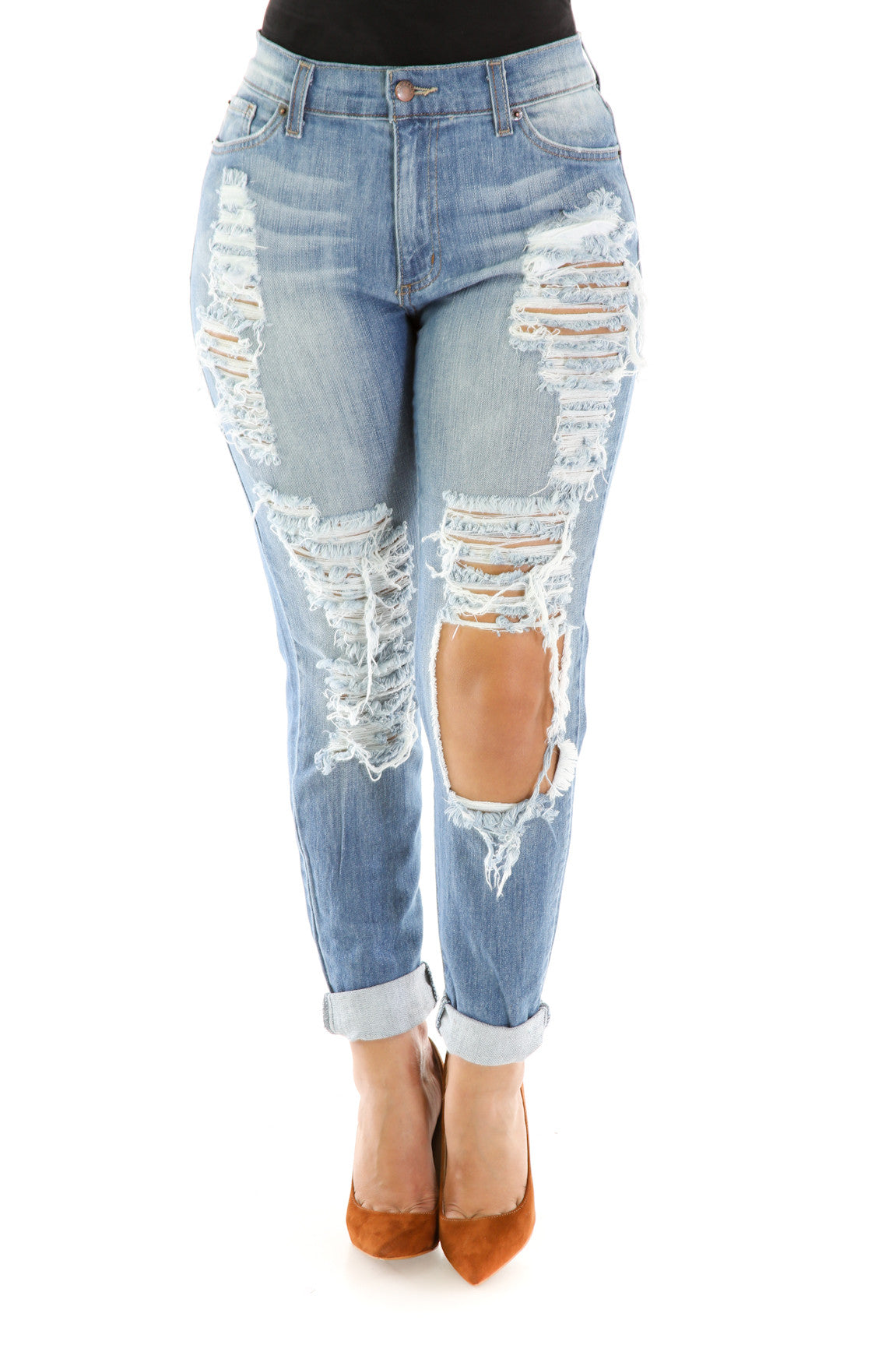 Denim Distress Jeans , Bottoms - Fashion Trend LA, Fashion Trend LA  - 3
