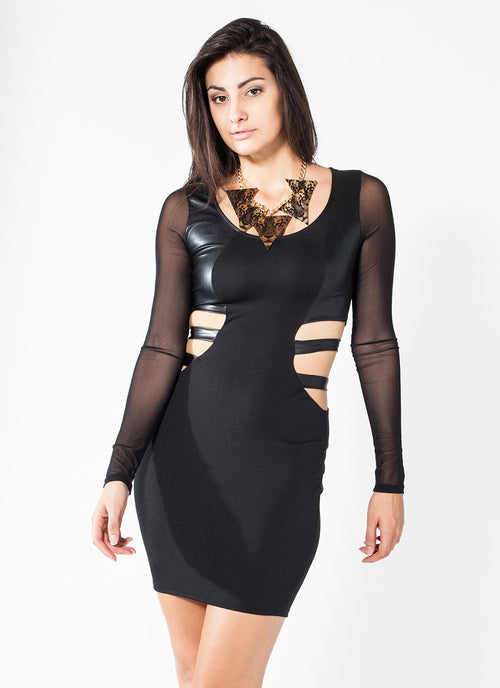 Black Ponti Long Sleeve Dress , Dress - Fashion Trend LA, Fashion Trend LA  - 1