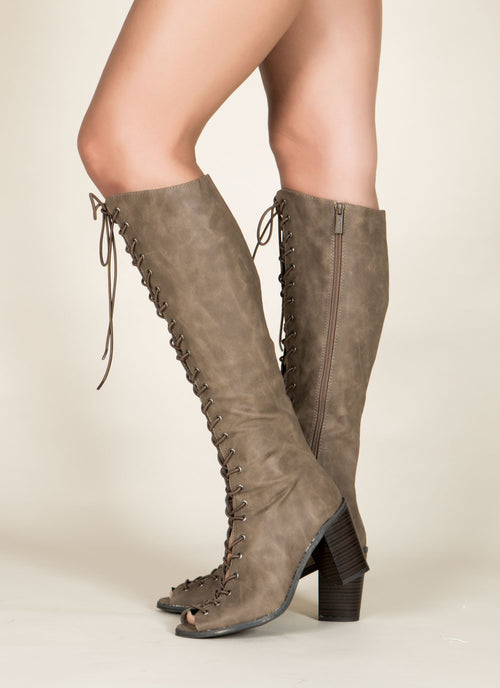 Lace Up Gladiator Boots , Shoes - Fashion Trend LA, Fashion Trend LA  - 2