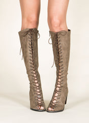 Lace Up Gladiator Boots , Shoes - Fashion Trend LA, Fashion Trend LA  - 1