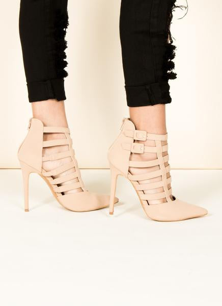 Nubuck Strapped Pointed Toe 5.5 / Nude, Shoes - Fashion Trend LA, Fashion Trend LA  - 2