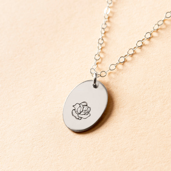 Rose Bud Small Signet Necklace